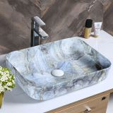 Bathroom rectangle blue new design simple luxury cermaic no hole art basin sink