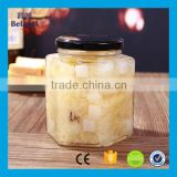 Manufacture 24oz 730ml glass pickles jar clear glass hexagonal food jar                                                                                                         Supplier's Choice