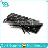 Customized Polka Dot Satin Folding Jewelry Roll Bag,Hanging Jewelry Organizer With Clear PVC Compartments