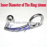 Alloy single ball anal plug with D:50mm cock ring for male, metal butt plug, steel anal hook adult male anal sex toys