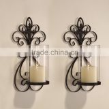 China Anxi Hot Sales Home Decorative Metal Crafts Wall Hanging Clear Glass Long Stem Candle Holder                                                                         Quality Choice