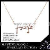 Alphabet letter 'forever' shape pendant necklace,18k women necklace rose gold plated friendship necklace charm wholesale