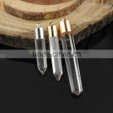 JF6886 Rose gold cap natural crystal quartz point pendant,lathy clear quartz spike pendants