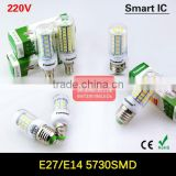 2015 New Arrival Led Lamp E27 E14 220V SMD 5730 Led Corn Bulb Lampada Led Chandelier Candle Lighting Smart IC Drive 24-89Leds