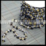 LFD-007C ~ Wholesale Gold Plated Wire Wrapped Freeform Black Stone Chips Chain Beaded Necklace Bracelet Jewelry Making