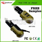 Promotional price! patent product ! wholesale car charger with cable, 3.1A dual usb car charger (MC1320/1330)