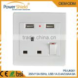 British /UK type USB wall socket with Short Circuit and overload proof Combination switch socket with CE standard
