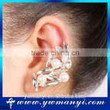 Newest fashion piercing pearl unique crystal ear cuff