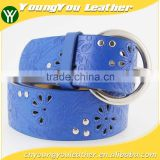 Women's popular studded 40Mm belt leather with embossed flower painting shiny buckle