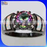 Custom Wholesale Opal Inlay Black Gold Ring 925 Sterling Silver Rainbow Mystic Topaz Ring                                                                         Quality Choice