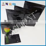 Black mylar bags cannabis/one side clear cannabis packaging bag with zipper