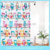 Custom owl printing children PEVA shower curtain from factory directly