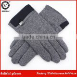 Men's Winter Quilted PU Belt Trimmed Grey Wool Fashion Dress Gloves with Fake Fur Lining