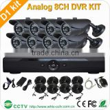 H 264 8 Channel shop DVR with 8 Outdoor Bullet 1200tvl Cameras DVR KIT