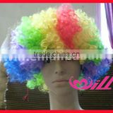 Wholesale 2014 World Football Fan Wigs Colorful Wig Short Afro Wigs
