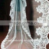 wedding veils with lace/one layer floor touch bride veils 040