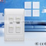South Africa electronic component PC material 4 gang light switch with CCC,CE,IEC Certificates