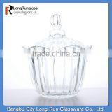 LongRun 2015 hot selling 650ml crystal biscuit nut food glass jar container with glass lid manufacture