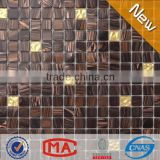 ZTCLJ JY-G-72 Fireplace Wall Golden and Dark Brown Glass Premium Mosaic Tile Cheap Tile Spain Style