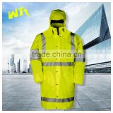 mens hi-vis polyester adult foldable waterproof rain jacket hooded 3m reflective raincoat
