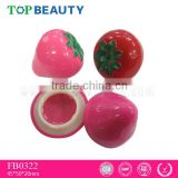 FB0322-1 2016 custom private label cheap wholesale fruity ball shape organic lip balm with ball container