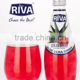ALOE VERA DRINK WITH ALOE VERA PULPS STRAWBERRY FLAVOR IN GLASS BOTTLE