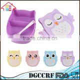 NBRSC Hot Selling Microwave Cartoon Owl Lunch Box Plastic Food Container Leak proof Portable Bento Box with Spoon Purple