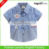Fancy design baby boys plaid shirt with embroidered applique patch work baby clothing