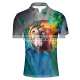 Custom Casual blank funny golf polo dri fit shirt Sport Tops 3D Animal Lion Pattern for men