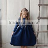 Linen Long Sleeved Girls Dress Midi Girl Dress Navy Blue Dress Hot Sale