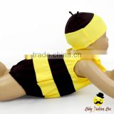 Kids Cute Unisex Remake Props Bee Cosplay Yellow And Black Flutter Sleeve One Piece Beach Clothes With Cap 2pcs Swimwear