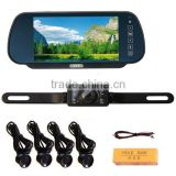 "car rear view 7"" monitor camera with parking sensor , parkign sensor"