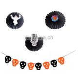 Halloween skull paper garland and hanging tissue paper fan decoration banner