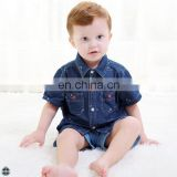 T-BSS010 Summer Casual Printed Kids Boys Stylish Short-Sleeved Denim Shirt
