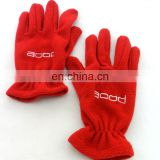 custom fashion promotional red embroidery fleece glove