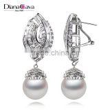 Wholesale Jewelry Worldwide Piercing Ears Crystal Zirconia Shell Pearl Drop Earrings