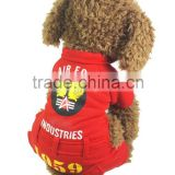 200 pcs sold in one Day Fit for Spring and Autumn USA Air Force Printed Red Dog Fleece Pet Clothes