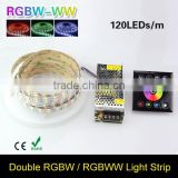 16.4FT Double Row 5050 RGB LED Strip 5M 600 Led SMD Led Fleible Light Ribbon Tape & DC 12V 10A Power & 86bo Dimmer Controller