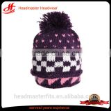 High quality wool handle jacquard pom pom knitted hat beard beanie