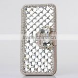 Crystal phone case for iPhone 5 5S wallet leather case