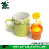 2015 Lovely flower Silicone Wholesale stainless steel tea bag infuser