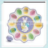 Ceramic Easter Egg Holder Plate Bunny Tray Holds 12 Eggs