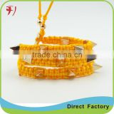 Wholesale colorful cotton nylon braided bracelet with beads