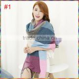 New winter cashmere fringe Korean plaid blanket scarf shawl