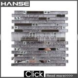 MY170 black color glass strip shape backsplash decorative metal mix glass mosaic tile