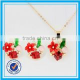 Fancy dried flower red coral necklace designs african coral beads jewelry set
