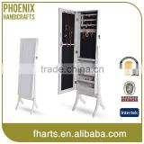 Floor standing wood full length mirrored cabinet for jewelry