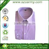 65% cotton 35% polyester purple and white stripe long-sleeve poplin shirt