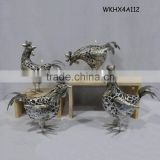 Silver color handcraft decorative metal chickens