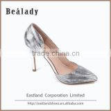 Factory customized high quality high heel 10cm glitter leather upper line dance pumps shoes